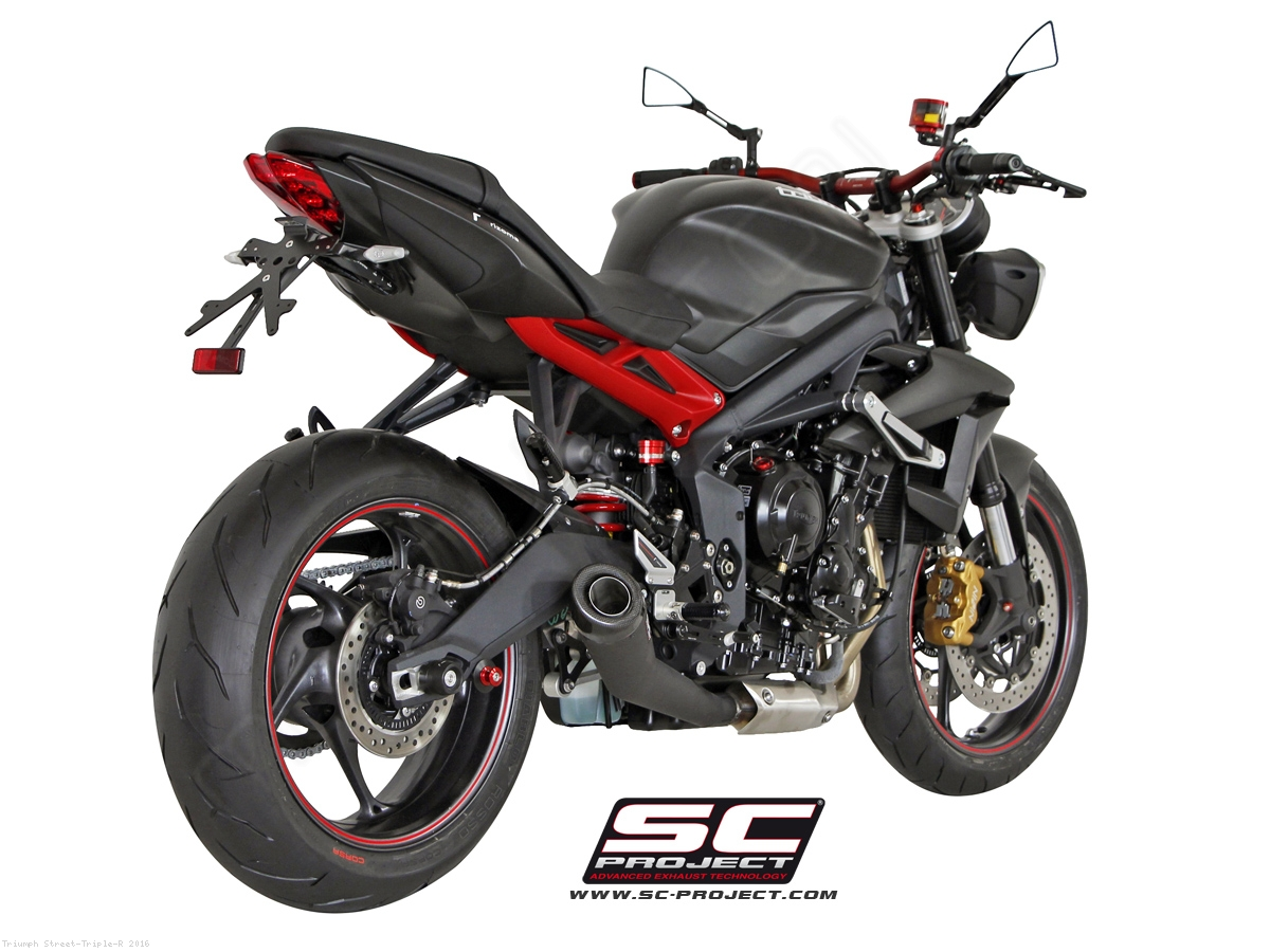 conic matte black exhaust by sc project triumph street triple r 2016 t13 21mb. Black Bedroom Furniture Sets. Home Design Ideas