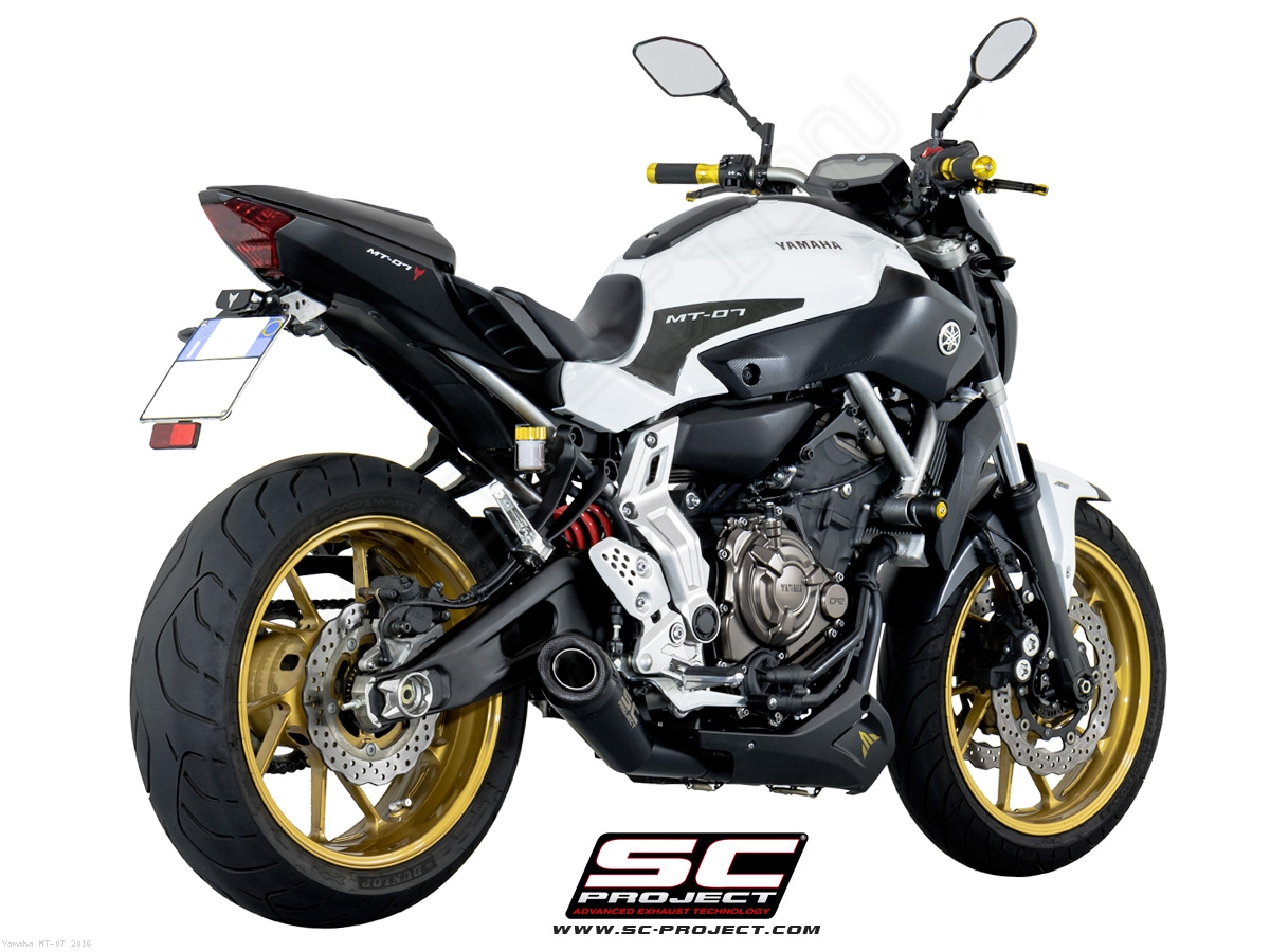 matte black conic 2 1 full system exhaust by sc project yamaha mt 07 2016 y14 c21mb. Black Bedroom Furniture Sets. Home Design Ideas